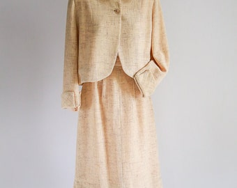 Cream Woven Wool Skirt Suit - size S