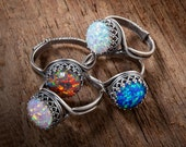 Opal Ring, Opal Silver Ring, Your Choice of White Opal, Fire Opal, Black Opal or Pink Opal in Filigree Adjustable Band, October Birthstone