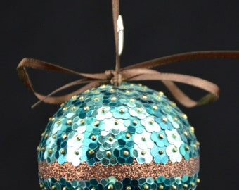 Turquoise and Brown Ornament
