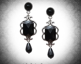 Gothic victorian silver filigree earrings with black gems and swarovski crystals