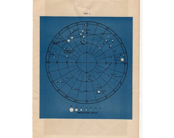 1946 astronomy star map original vintage celestial print - map 1