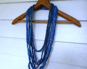 Summer Thunder. Multi Strand Crochet Boho Necklace in eggplant, deep blue & turquoise. Genuine Alpaca wool yarn . Handmade Rustic Neck Art