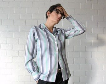 green and navy striped vintage blouse - 1211199