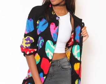 Vtg 80s Adorable Novelty Heart Mulitcolor Cosby Abstract Art Sweater M/L