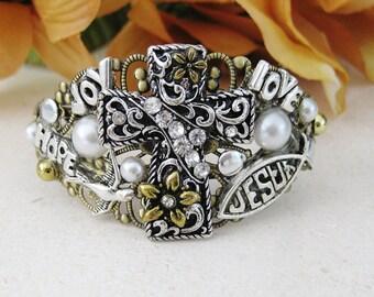 Cuff Bracelets, Cross Bracelet, Christian Bracelet, Christian Jewelry,  Religious Jewelry, Religious Gifts, Silver Jewelry, B046
