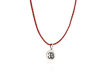 Ohm Necklace / Red String / Yoga Jewelry / Silver Ohm Necklace / Bohemian Style