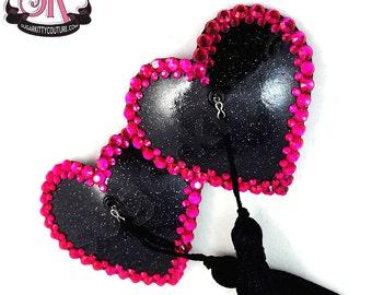Heart Shaped Glitter Vinyl & Rhinestone Nipple Pasties - SugarKitty Couture