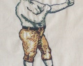 Reserved - Show Special  - Old Englishman With Mustache Fighting - Framed (Glass) and Hand Stitched