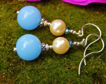 Serenely Blue Earrings - Beautiful Sky-Blue Lucite Beads, Ivory Glass Pearls & Blue-Opal Prism Crystals w Argentium -or- Sterling Ear Wires