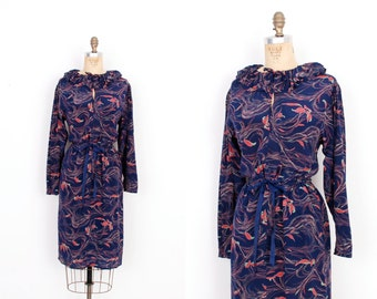 Vintage 1980s Dress / 80s Floral Printed Silk Dress / Navy Blue ( M L )