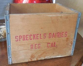 Rare Spreckles Dairies Dairy Wood Crate Unusual Gift or Storage Box