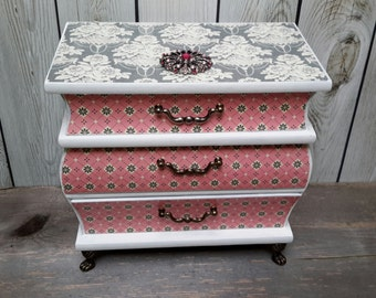 PINK AND GREY Shabby Chic Wedding Cake Jewelry Box Inspired By Downton Abbey