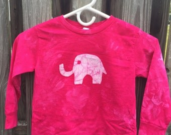 Pink Elephant Shirt, Kids Elephant Shirt, Girls Elephant Shirt, Fuchsia Elephant Shirt, Batik Kids Shirt, Long Sleeve Kids Shirt (4/5)