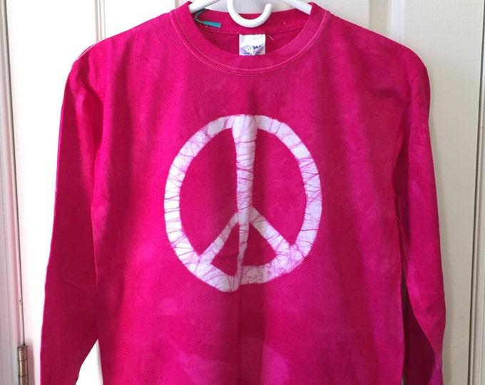 Kids Peace Sign Shirt, Pink Peace Sign Shirt, Fuchsia Peace Shirt, Batik Kids Shirt, Batik Peace Sign Shirt, Peace Kids Shirt (Youth XL)
