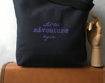 """CLEARANCE ~ Let the adventure begin... - Travel Bag - Purple Ink on a Black Canvas Carryall Tote - LAST ONE - More info in """"Item Details"""""""