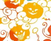 Japanese Tenugui Cotton Fabric, Jack O Lantern, Halloween Fabric, Ghost, Pumpkin, Bat, Hand Dyed Fabric, Modern Art Fabric, Home Decor, k222
