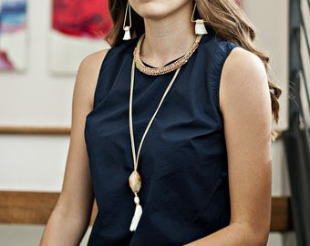 Stone, Leather, & Silk Necklace in Tribal | S16-N1 TRB