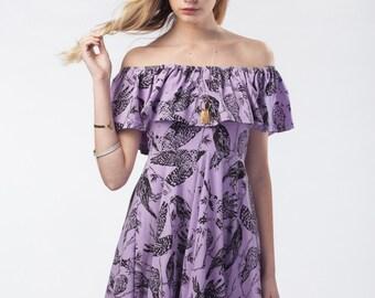 Black on Lilac 'Birds of Prey' Flutter Twirling Dress
