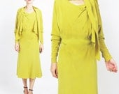 Vintage 1930s Dress Chartreuse Yellow 30s Dress Long Sleeve Knee Length Draped Built in Scarf Dress Day Flapper Dress Old Hollywood (S/M)
