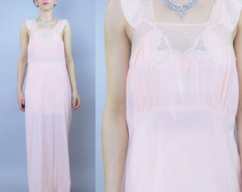 25% OFF 1930s Slip Dress Peach Pink Lace Bias Cut Night Gown Boudoir Flapper Maxi Bridal Lingerie Ruffle Sleeves Embroidered Bows (M) E6033