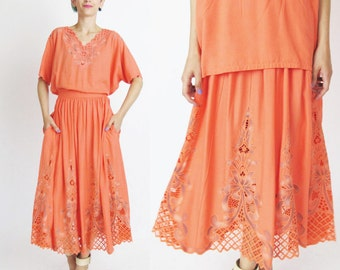 Vintage Floral Cutwork Dress Blouse & Skirt Set Coral Pink Dress Bali Floral Embroidered Skirt Cut Outs Matching Outfit (S/M) E1016