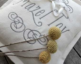 PRE-ORDER: Heirloom Embroidered Ring Bearer Pillow