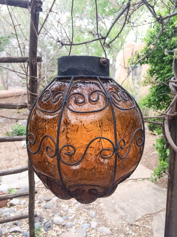 1960s Mexican Amber Glass Wrought Iron Hanging Lantern