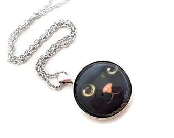 Halloween Jewelry, Black Cat Pendant, Black Cat Jewelry, Halloween Cat Pendant, Cat Lover Gift, Black Cat Necklace, Cute Cat Necklace