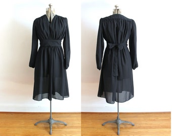 1970s Black Dress / 70s Boho Sheer Black Dress