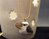 Hand crafted miniature ceramic kookaburra pendant charm or totem figurine Anita Reay