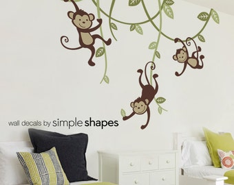 Monkey decals, 3 Monkeys Swinging From Vines Wall Decal - Kids Vinyl Wall Sticker Decal Set - Nursery Decals