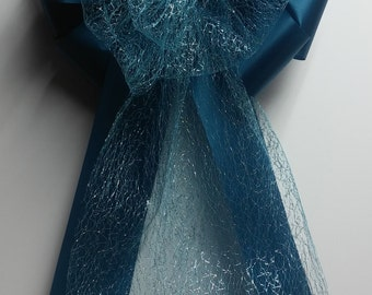 Wedding Pew Bows Turquoise Teal Blue Sparkle Tulle Ribbon over Teal Acetate Satin Hand Tied