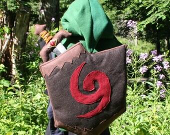 Zelda Inspired Hooded Baby Carrier Cover Deku Shield and Kokiri Sword Baby Carrier Cover With Link's Hood