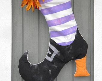 """Halloween decor fall outdoor witch's boot with pocket featured on Zulily weather resistant autumn 22""""x16"""" Crabby Chris Original design"""