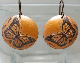 Magical Monarchs Etched Copper Earrings