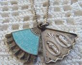 Vintage Necklace Miraculous Medal Blue Guilloche Enamel Sterling Slide Pendant
