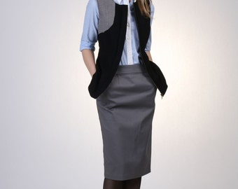 Gray Basic Pencil Skirt with Pocket, Cotton Pencil Skirt, Straight Skirt, Tailored Skirt, Wear to Work Skirt, Pocket Skirt - Handmade