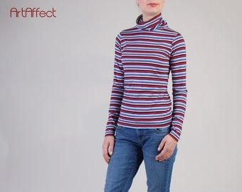 NEW  Striped Turtleneck Top, Perfect Fitting Turtleneck Top, Slim Funnelneck, Fitted Turtle Neck T-hirt, Winter Top - Multi Color Stipred