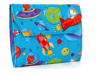 Animals In Space Deluxe Crayon Wallet with option to add a name, Easter gift, Crayon organizer, Crayon keeper, Travel art kit, Handmade toy