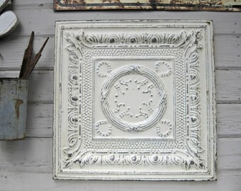 Antique Ceiling Tin Tile. 10th Tin Anniversary Gift. Old Metal tile. Antique Architectural salvage. White distressed decor.