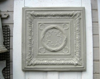Vintage Ceiling Pressed Tin Tile. 2'x2' FRAMED Metal tile. Antique Architectural salvage, Gray office wall decor. Vintage metal.