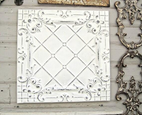 White Tin Wall Decor : Antique ceiling tin tile framed metal