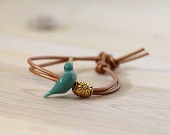 Turquoise bird bracelet, blue bird jewelry, blue bird bracelet, gift for bird lovers, custom bird gift