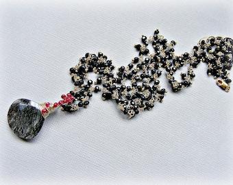 Black spinel necklace, luxury necklace, tourmalinated quartz necklace, spinel gold necklace, red spinel necklace, statement necklace