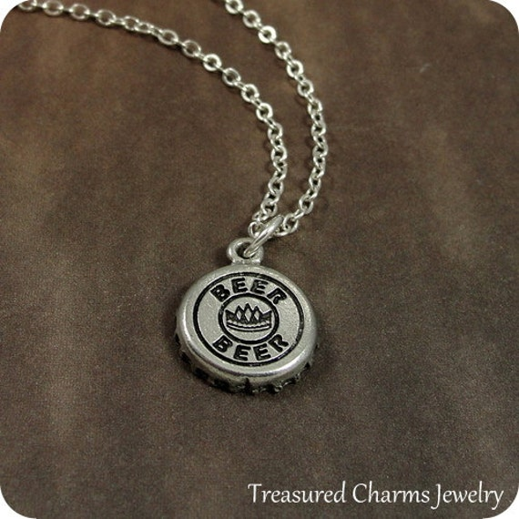 Beer cap necklace silver beer cap charm on a silver cable for Beer cap jewelry