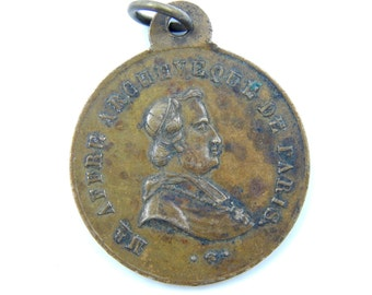 Antique 1800s Archbishop Affre of Paris - French Revolution Catholic Medal - Religious Medallion - Scapular Medal - Servant of God T43