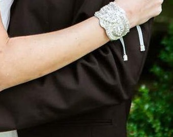 Bridal Crystal Bracelet beaded Cuff with Pearl Button Closure