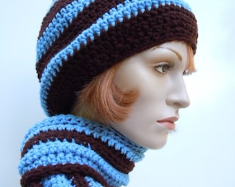 Hat and Scarf Set, Blue Bell Blue and Coffee Brown Slouch Hat and Scarf Set, Crocheted Hat and Scarf, Womens Hat and Scarf