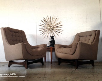 Pair Mid Century Pearsall Danish Modern sculptural Lounge Chairs 1960s Mr & Mrs Lounge Chairs adrian pearsall style chairs