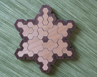 Snowflake wooden brain-teaser Puzzle Toy Game Gift